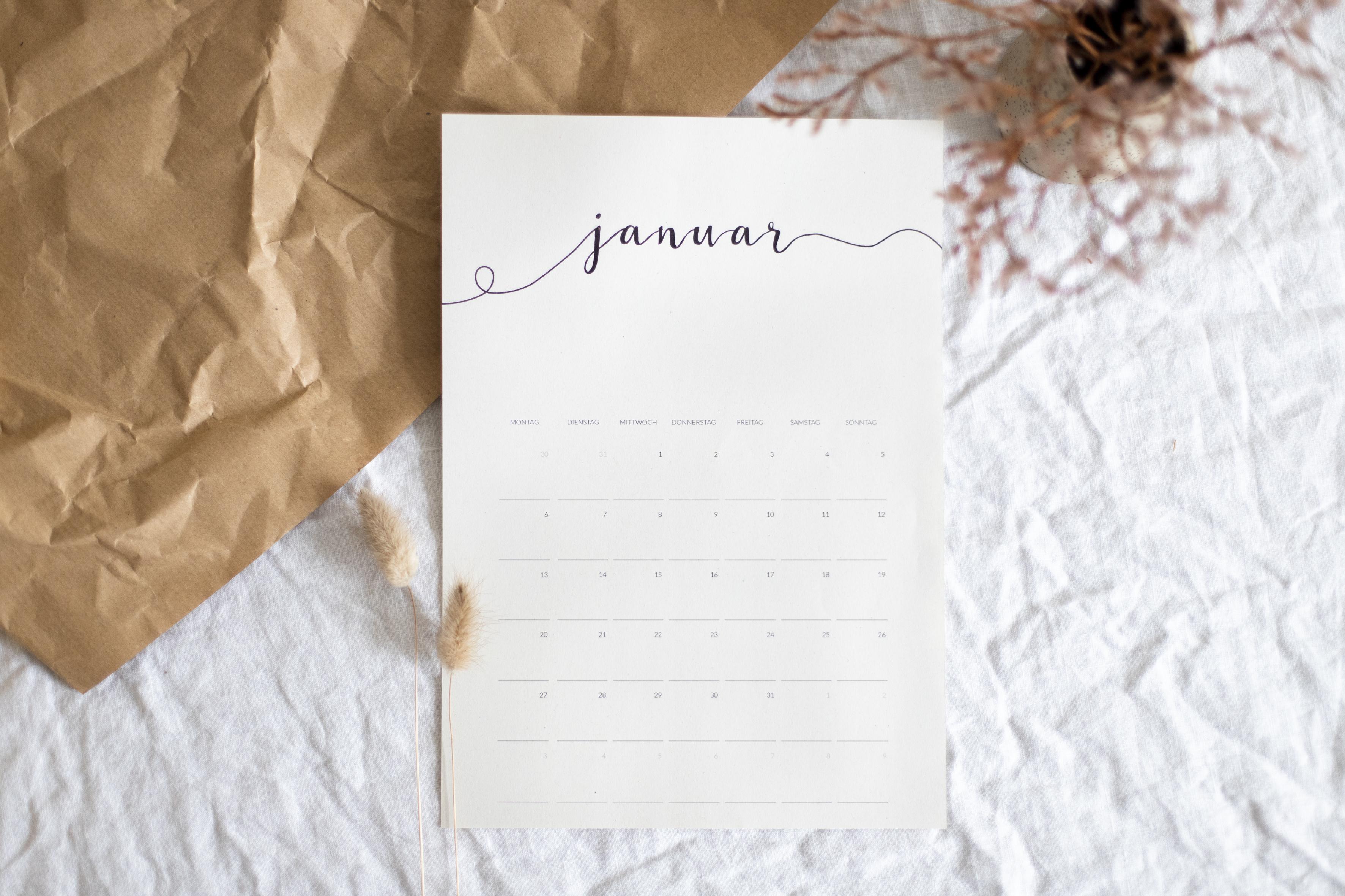 Freebie Minimalistischer Kalender 2020 Paulsvera
