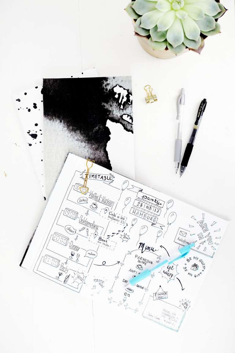 Partyplan als Sketchnote selbst gestalten und DIY Notizbücher mit Stoffbezug