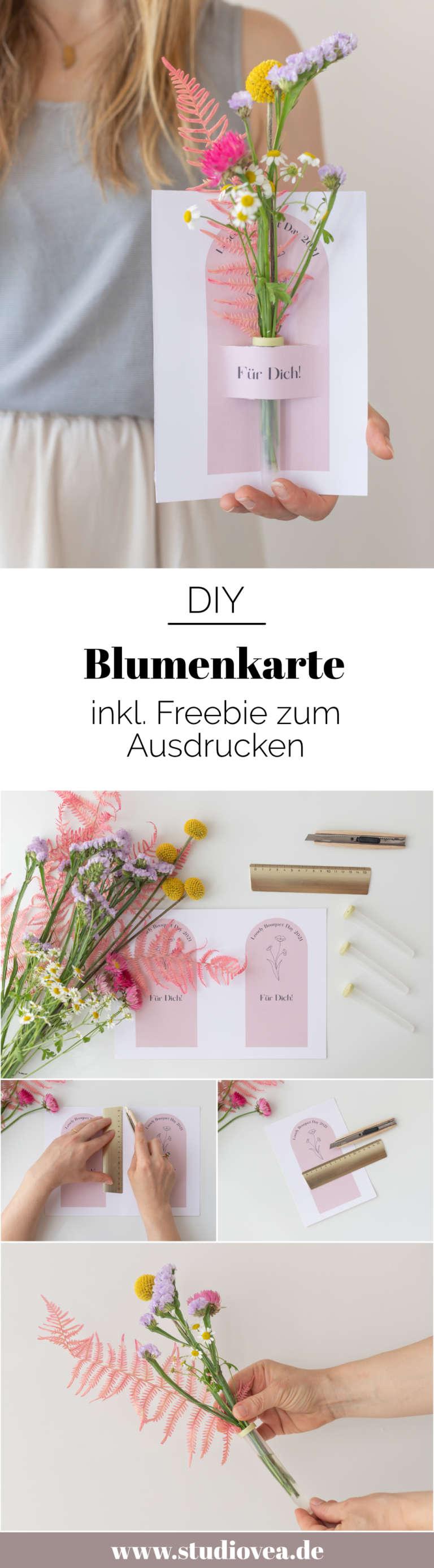 Anleitung DIY Blumenkarte studiovea