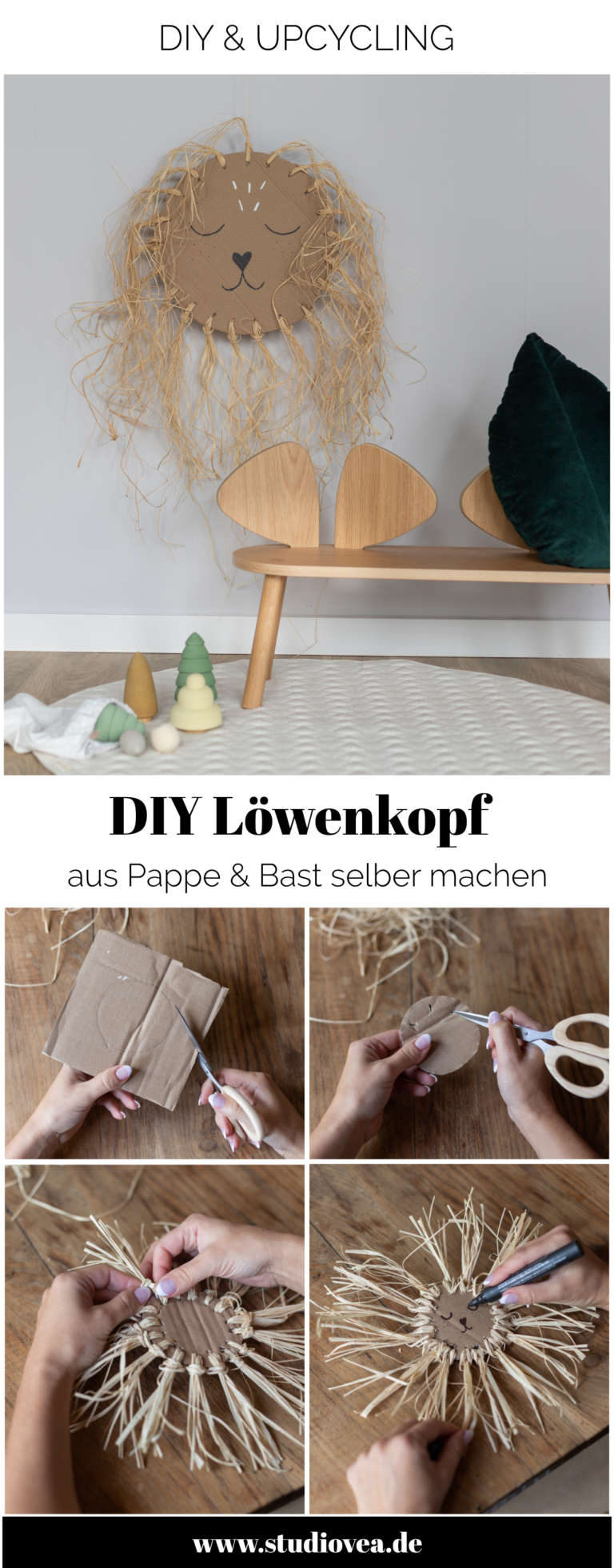 Anleitung DIY Idee Pappe Karton Upcycling Lowe Kinderzimmer Wanddeko Dekoration Bast studiovea