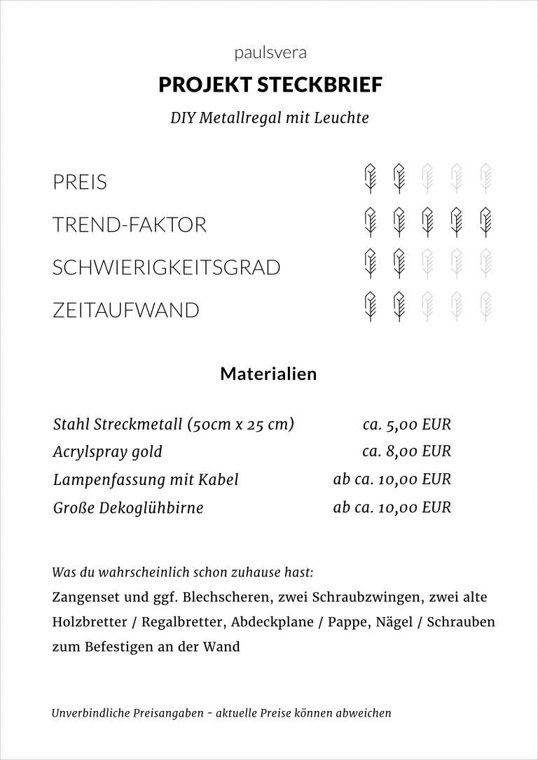 Anleitung Materialien Werkzeuge Diy Metallregal Mit Leuchte Selber Machen Paulsvera