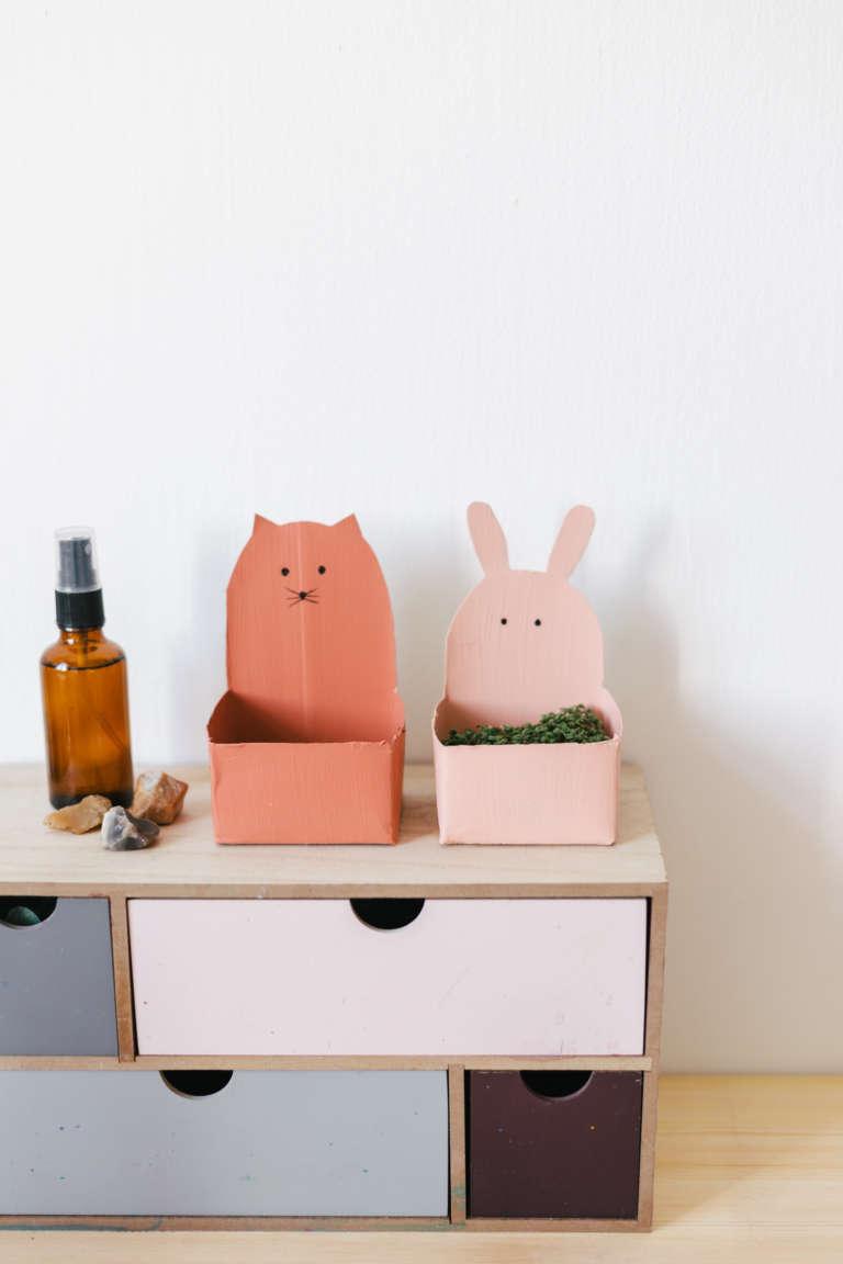 DIY Ideen Kinder niedliche Upycyling Kressetopfe aus Tetrapak mit Tiergesichtern selber machen paulsvera 12