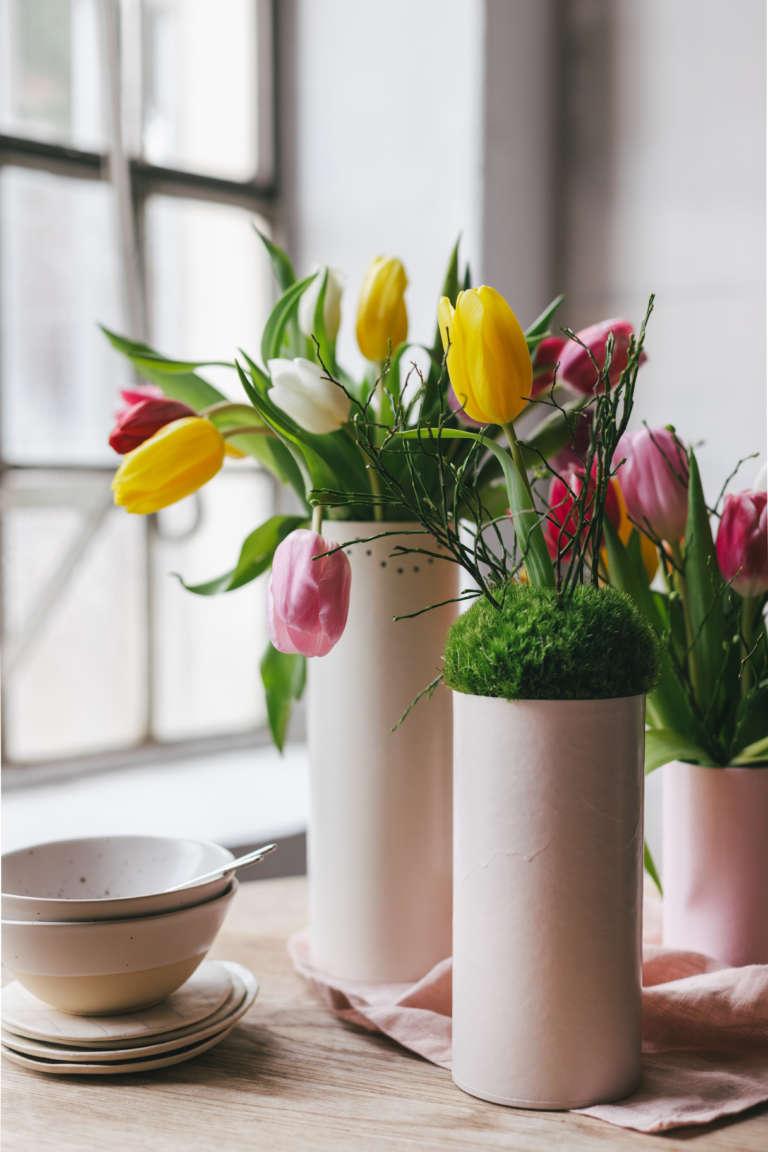 Diy Tischdeko Fruhling Blumen Paulsvera Mymuesli 16