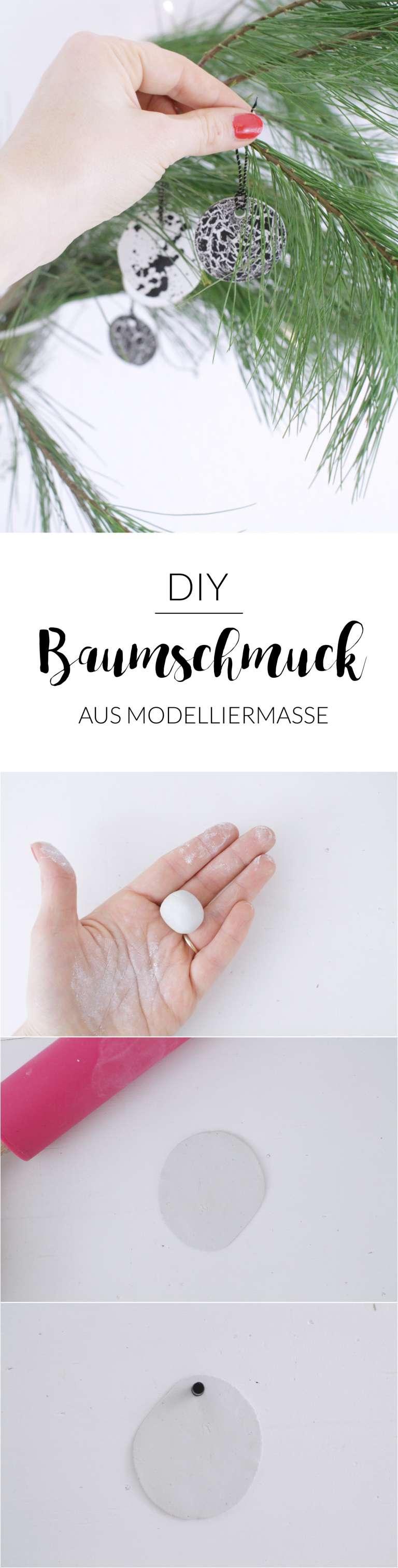 Diy Anleitung Baumschmuck Anhaenger Modelliermasse Schwarz Weiss Weihnachten Paulsvera