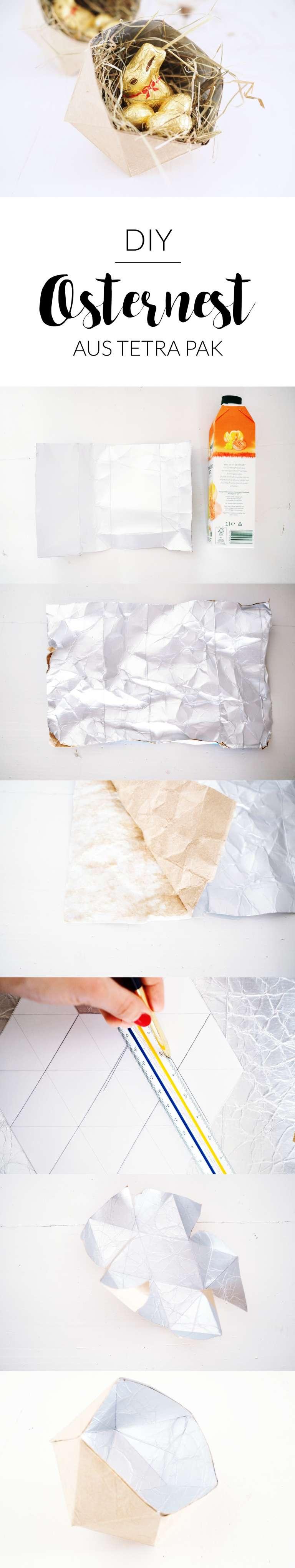 Diy Anleitung Upcycling Osternest Ostern Geometrische Schale Aus Tetra Pak Paulsvera