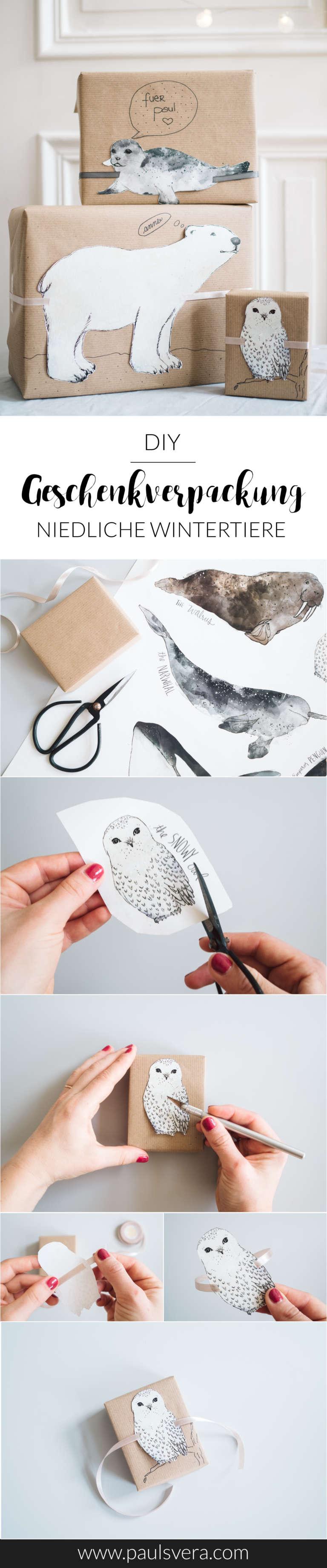 Diy Geschenke Verpacken Einpacken Ideen Anleitung Niedliche Wintertiere Paulsvera