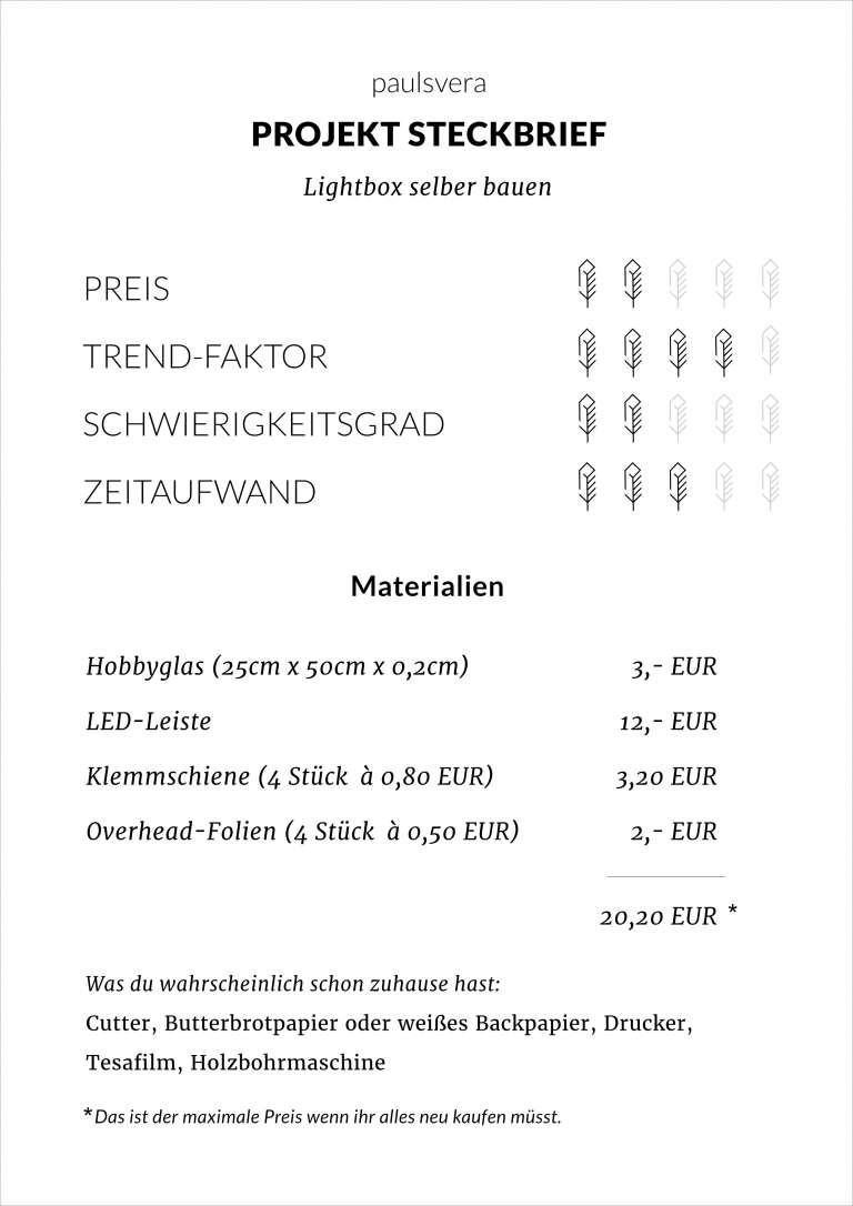 Diy Lightbox Selber Bauen Steckbrief Paulsvera