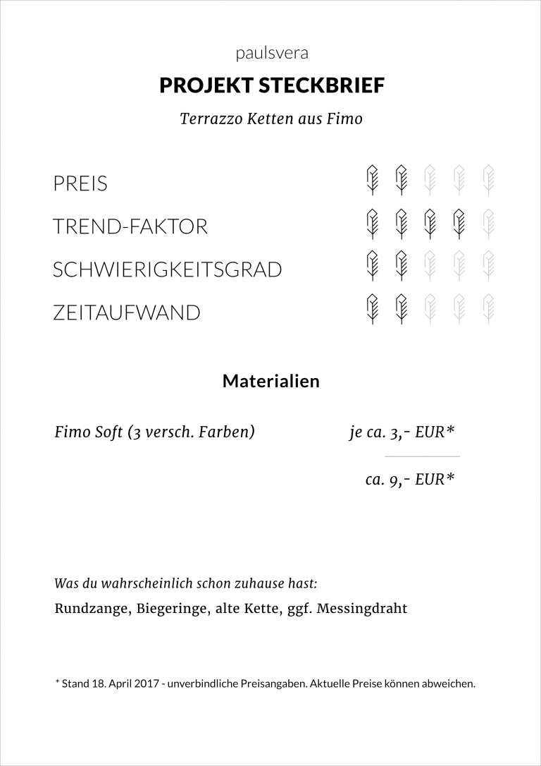 Diy Steckbrief Terrazzo Ketten Aus Fimo Paulsvera