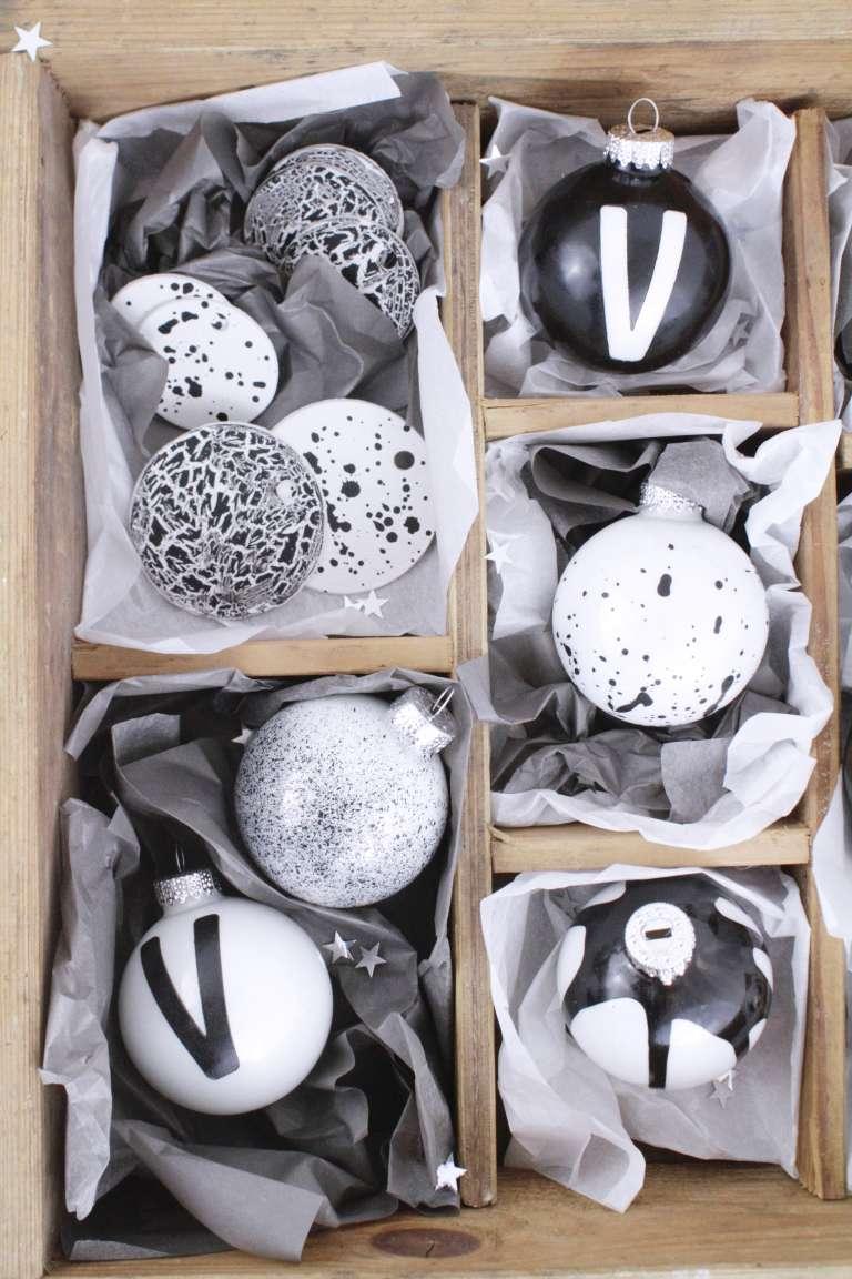 DIY_Weihnachtsbaumschmuck selber gestalten-Typografie_Buchstaben-Sprenkel-Craquele-schwarz-weiß-paulsvera-6