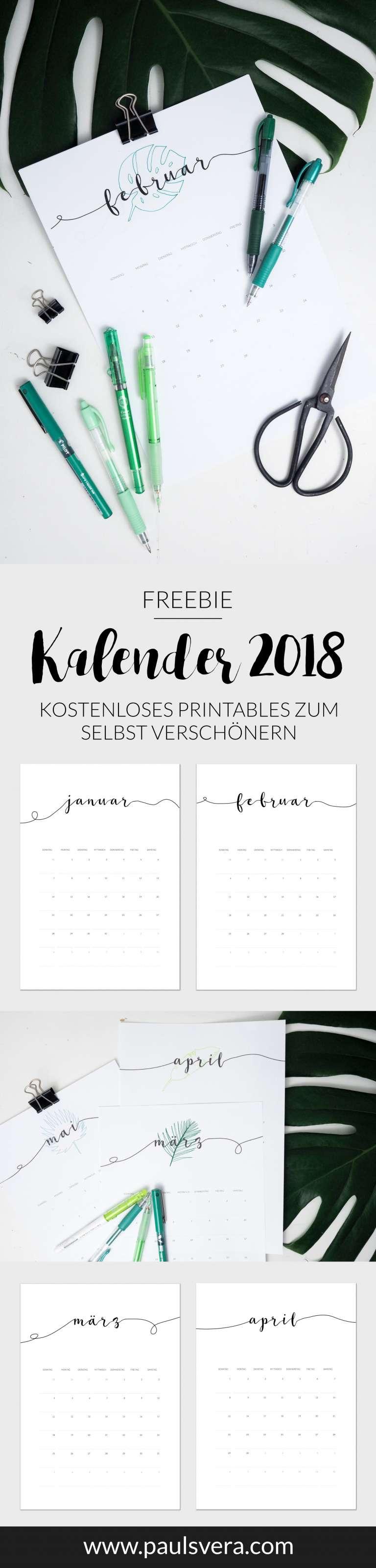 freebie kalender 2018 als kostenloses printables paulsvera. Black Bedroom Furniture Sets. Home Design Ideas
