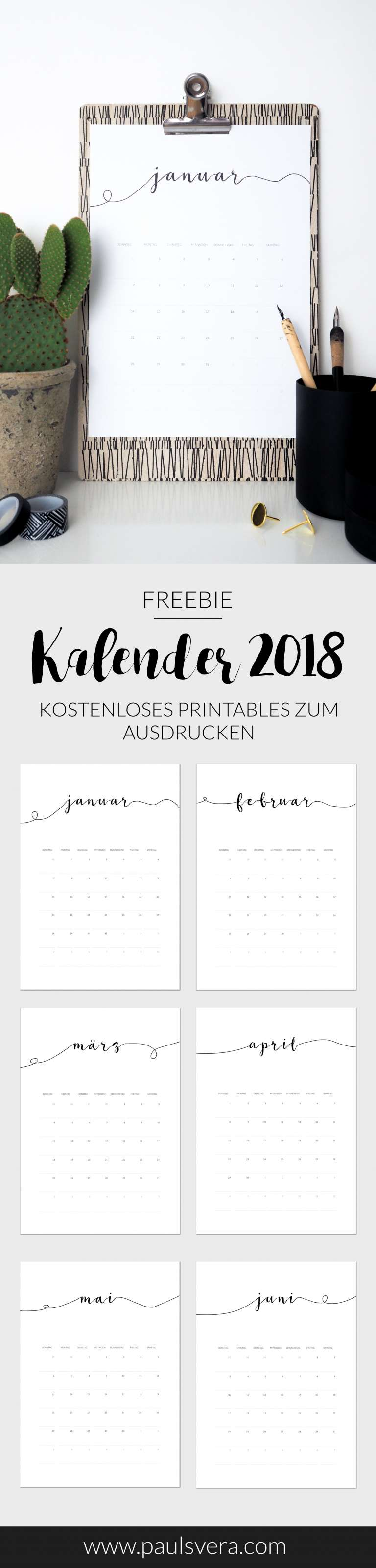 Minimalister Kalender 2018 zum Ausdrucken als free download printables kostenloses freebie