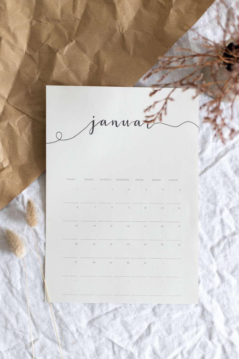 Freebie Kalender 2020 Kostenlos Ausdrucken Printables Monatskalender Paulsvera 5