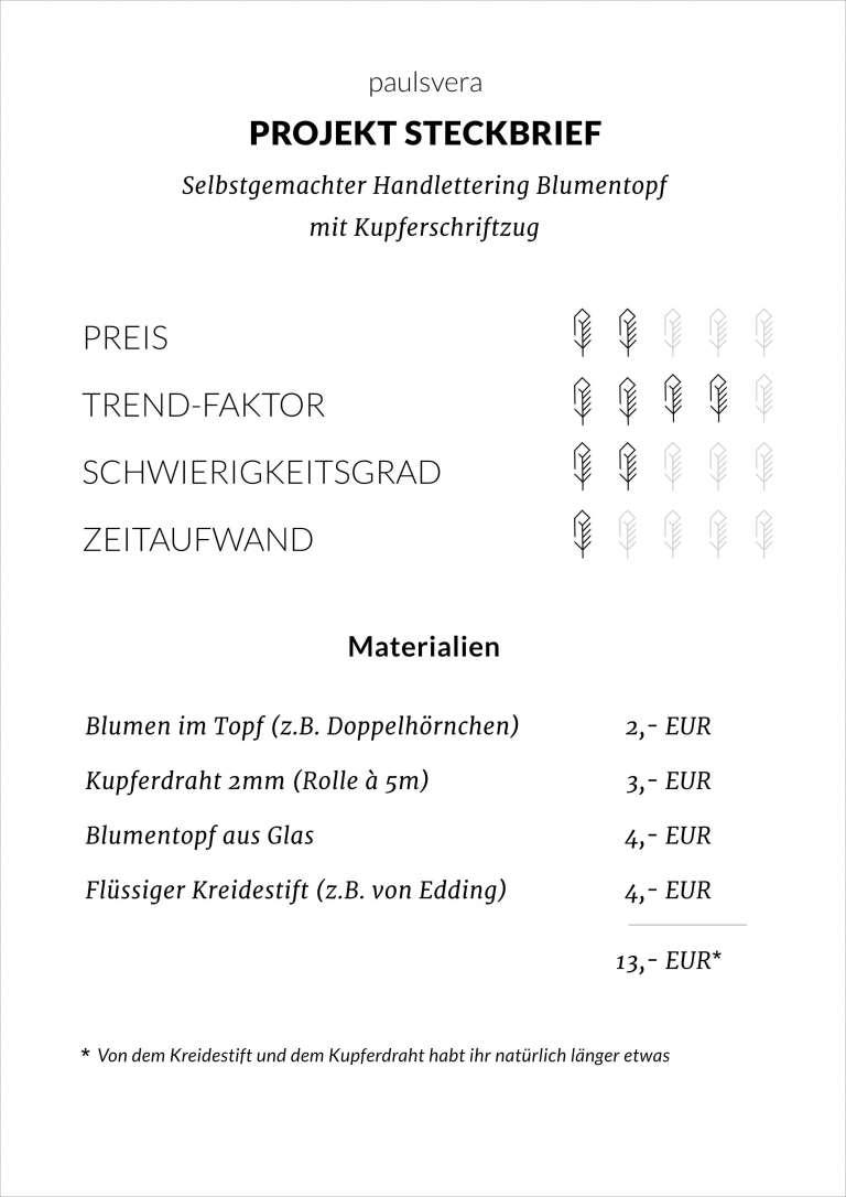 Handletter Blumentopf Steckbrief