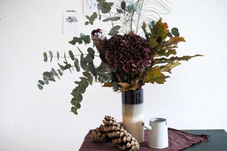 Herbststrauss Blumen Herbst Hortensie Eukalytus Kreativ Blumen Binden Paulsvera Com 10