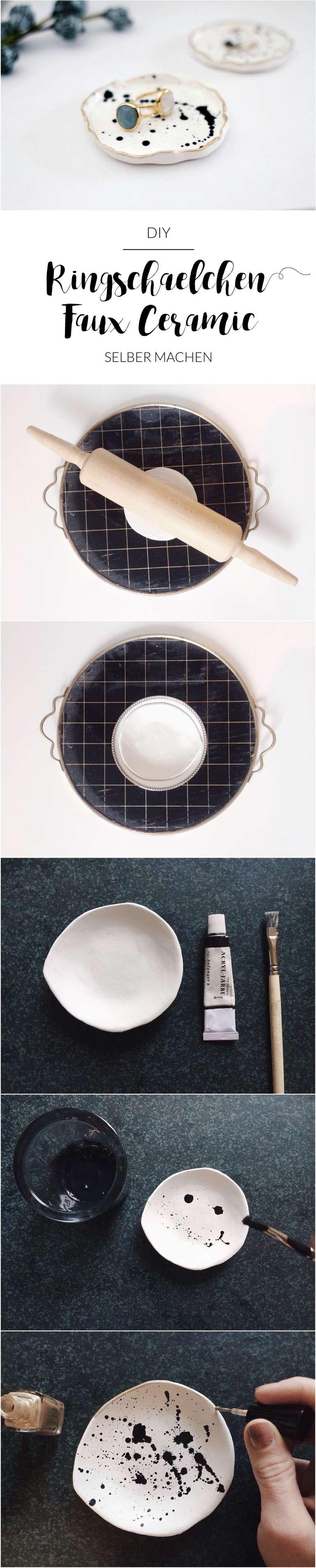 How To Ringschalchen Faux Ceramic Goldrand Modelliermasse Selber Machen Paulsvera