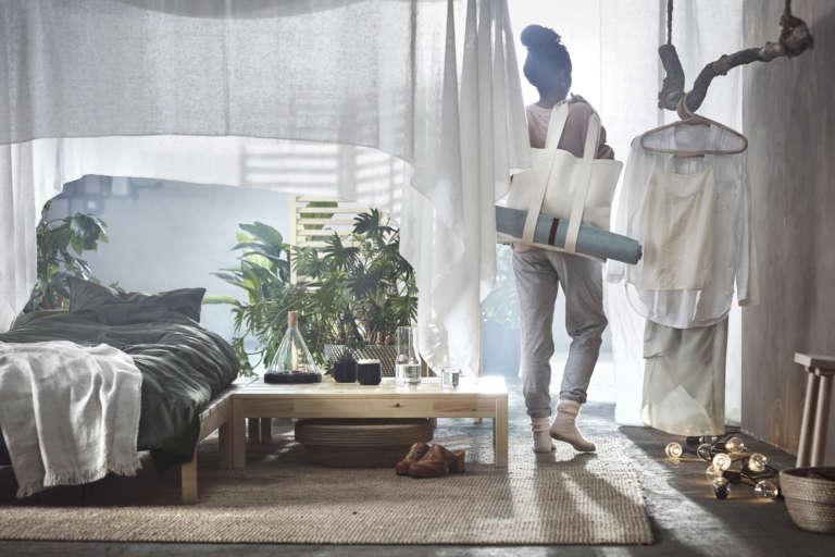 Ikea Hjartelig Kollektion Bett Betthimmel Yogatasche Yogamatte Paulsvera