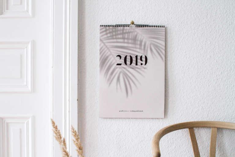Kalender 2019 Familienkalender Wandkalender Minimalistisch Modern Schatten 2