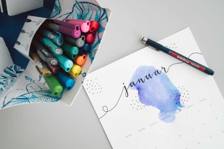 Kalender 2019 Printables Zum Ausdrucken Freebie Edding Aquarell Wasserfarben Modern Minimalistisch Paulsvera 10
