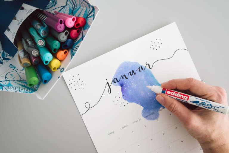 Kalender 2019 Printables Zum Ausdrucken Freebie Edding Aquarell Wasserfarben Modern Minimalistisch Paulsvera 11