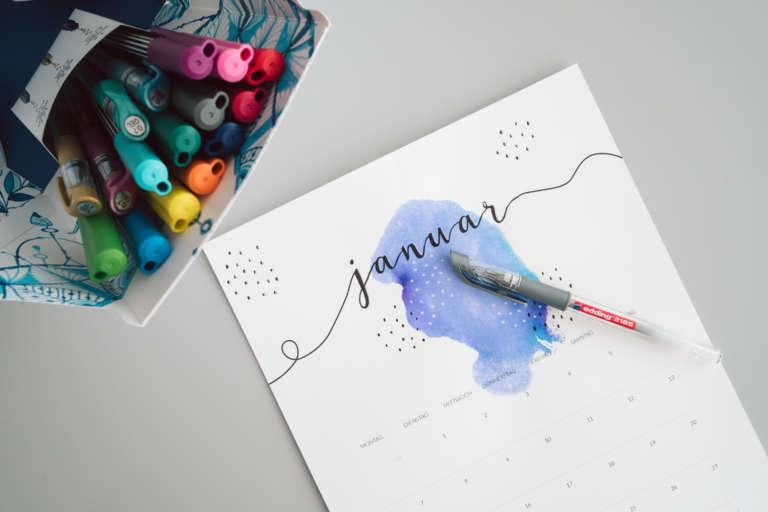 Kalender 2019 Printables Zum Ausdrucken Freebie Edding Aquarell Wasserfarben Modern Minimalistisch Paulsvera 13