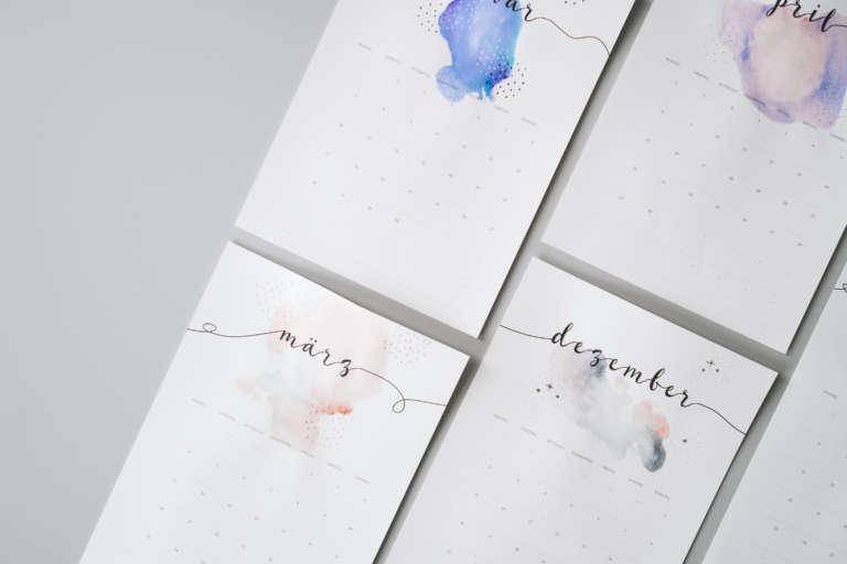 Kalender 2019 Printables Zum Ausdrucken Freebie Edding Aquarell Wasserfarben Modern Minimalistisch Paulsvera 24