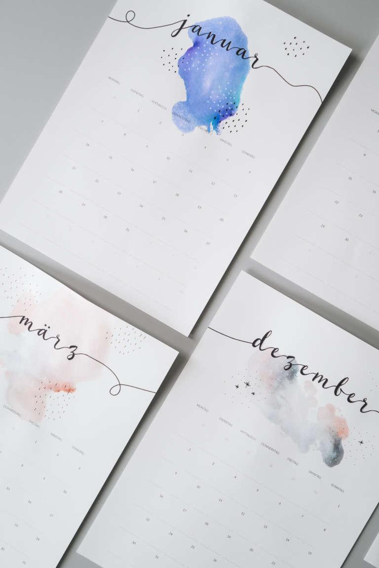 Kalender 2019 Printables Zum Ausdrucken Freebie Edding Aquarell Wasserfarben Modern Minimalistisch Paulsvera 25