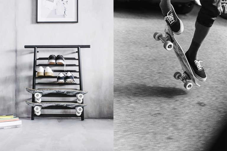 SPÄNST Schuh-/Skateboardregal ca. 69 EUR und SPÄNST Skateboard ca. 69 EUR © Inter IKEA Systems B.V. 2018