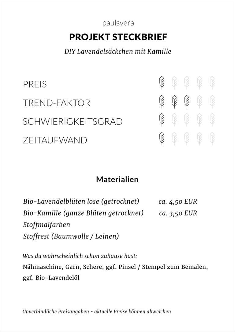 Steckbrief Diy Lavendelsaeckchen Kamille Beruhigung Entspannung Schrankdurft Duft Fuer Zuhause Paulsvera