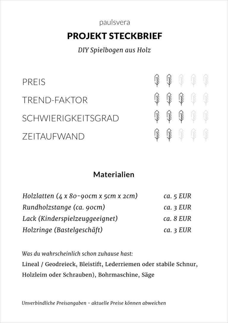 Steckbrief Diy Spielbogen Aus Holz Selber Bauen Paulsvera