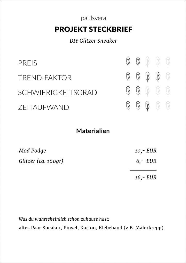Steckbrief Diy Glitzer Sneaker Selber Machen Upcycling Paulsvera