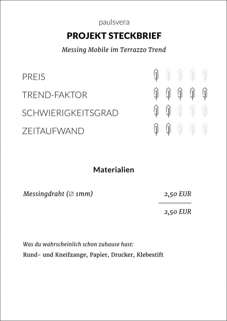 Steckbrief Diy Messing Mobile Im Terrazzo Trend Papier 3 D Selbstgemacht Paulsvera