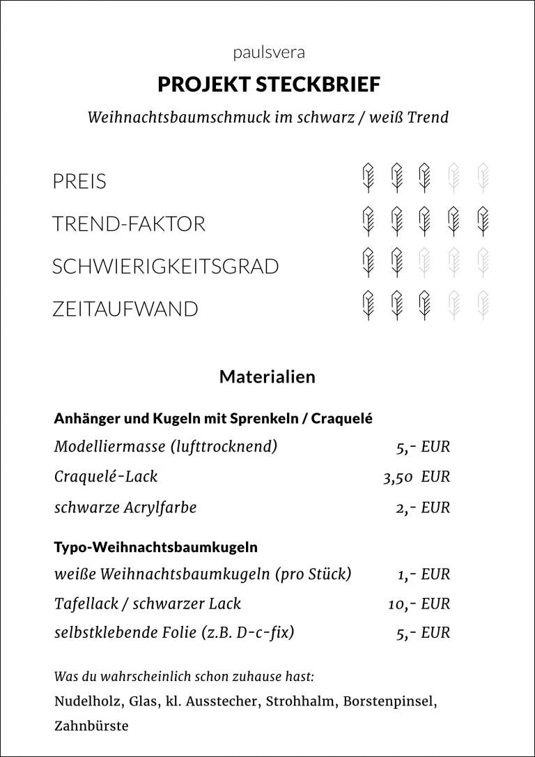 Steckbrief Diy Weihnachtsbaumschmuck Anhanger Schwarz Weiss Trend Selber Machen Paulsvera