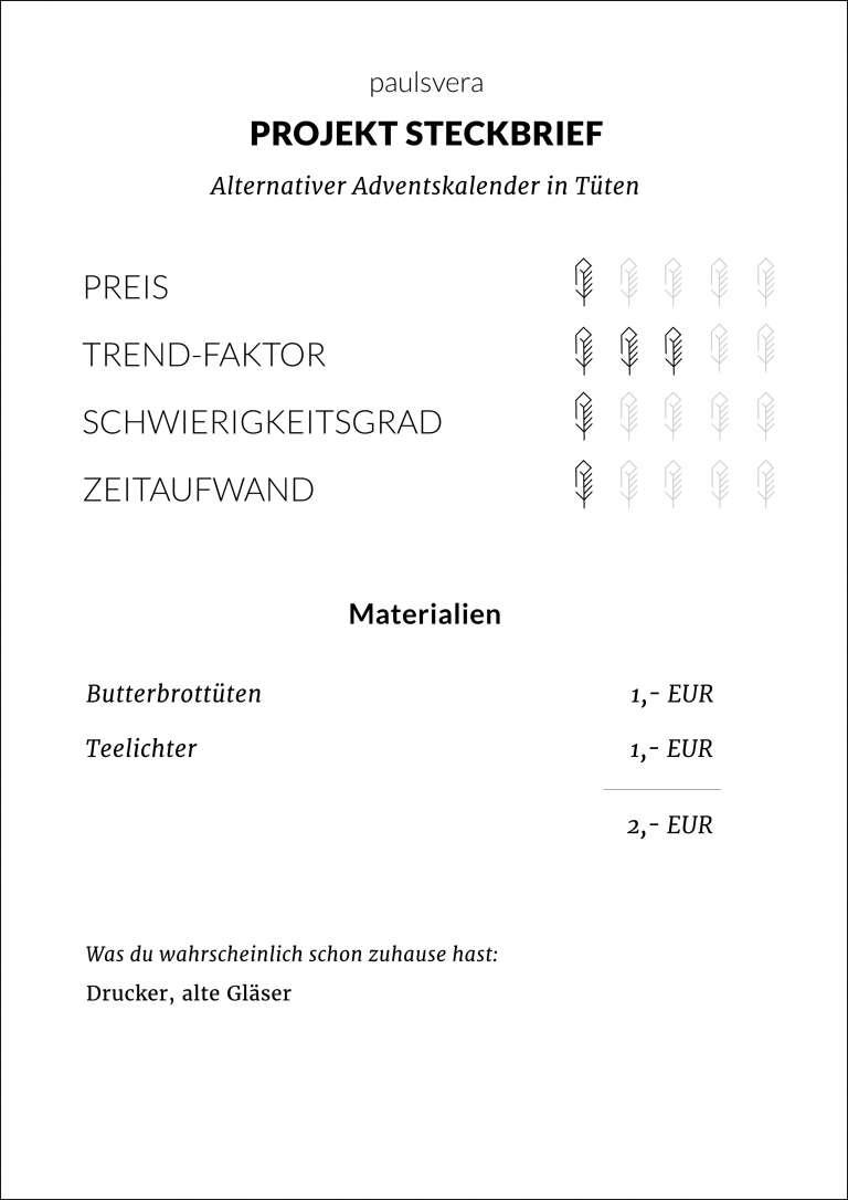 Steckbrief Diy Alternativer Adventskalender Bedruckte Butterbrottuten Paulsvera