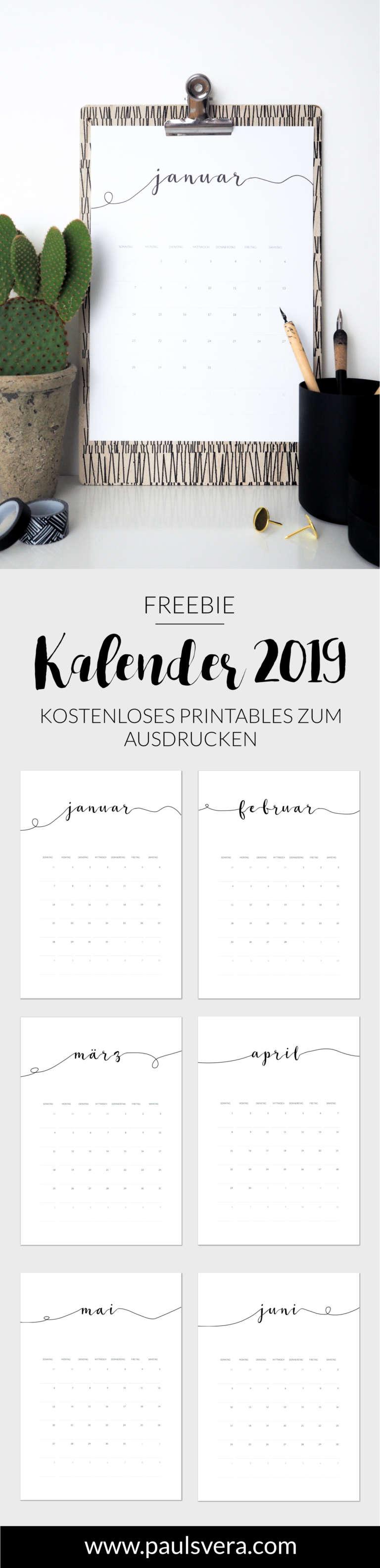 Freebie Minimalistischer Kalender 2019 Paulsvera