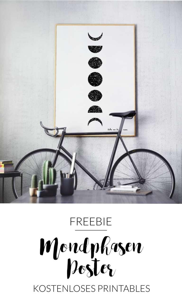 Mondphasen Poster Bild Mond Freebie Free Printables Kostenloser Download Kostenlos herunter laden